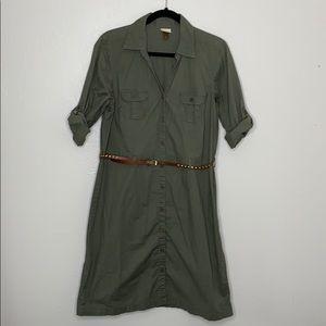 Army green shirt dress midi belted L Sonoma